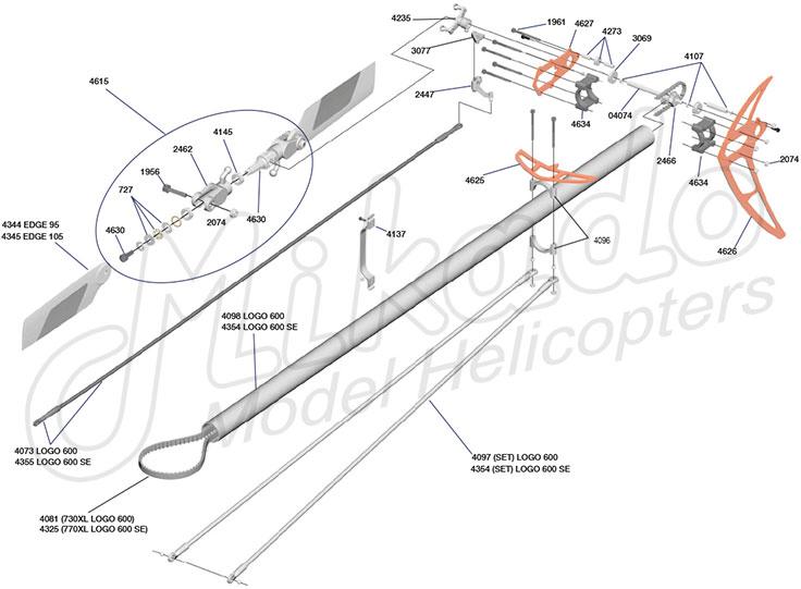 ersatzteile heckrotor logo 600 sx logo helikopter. Black Bedroom Furniture Sets. Home Design Ideas